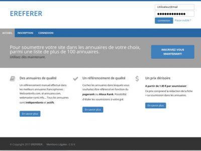 Ereferer, plateforme de référencement dans les annuaires web